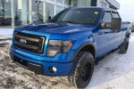 This Blue 4 door FX4 - 4x4! SuperCrew, Sunroof, Leather, Nav Pickup features a Black interior a 6 Spd Automatic transmission, a  5.0L  V 8 engine, and has 81403 kilometres on it.
