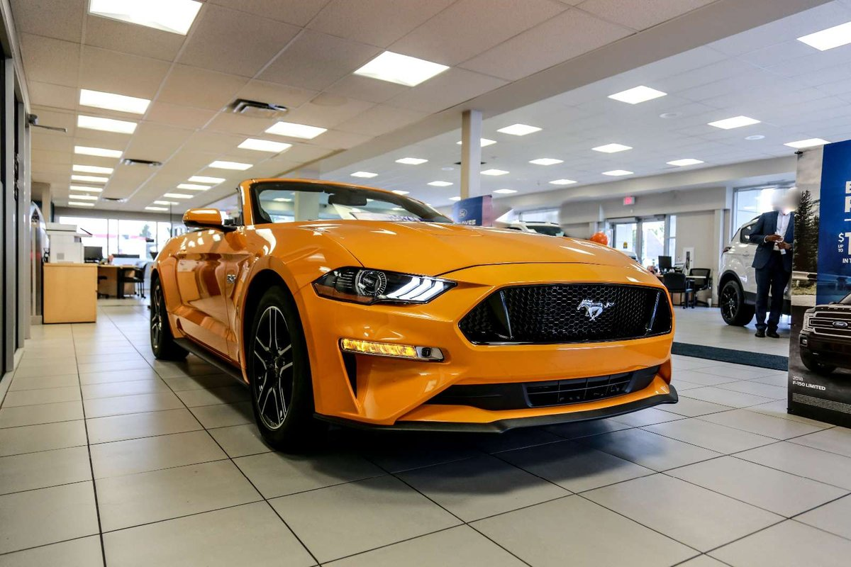 Check out our 2019 ford mustang gt premium convertible thats got plenty of swagger in orange fury powered by a coyote 5 0 litre v8 offering 460hp while